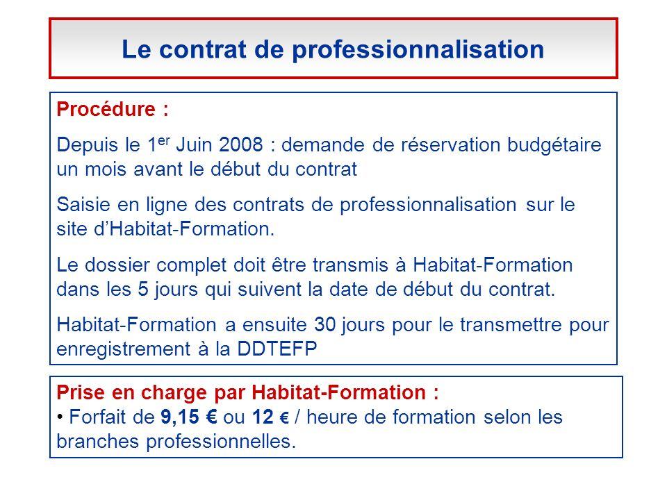 Procédure : Depuis le 1 er Juin 2008 : demande de réservation budgétaire un mois avant le début du contrat Saisie en ligne des contrats de professionn