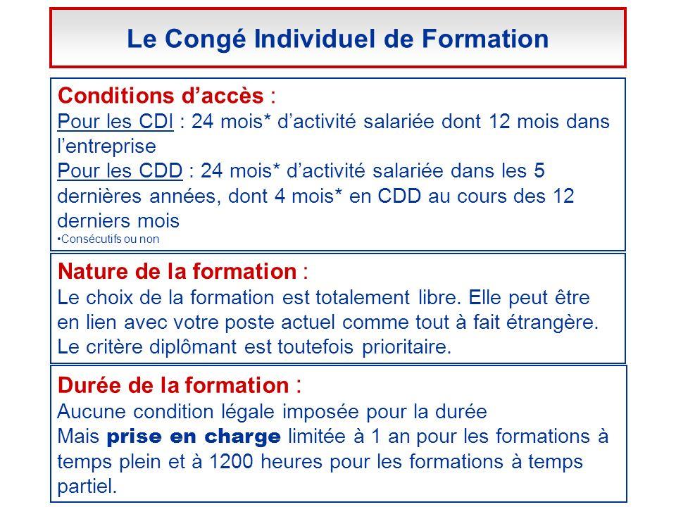 Conditions daccès : Pour les CDI : 24 mois* dactivité salariée dont 12 mois dans lentreprise Pour les CDD : 24 mois* dactivité salariée dans les 5 der