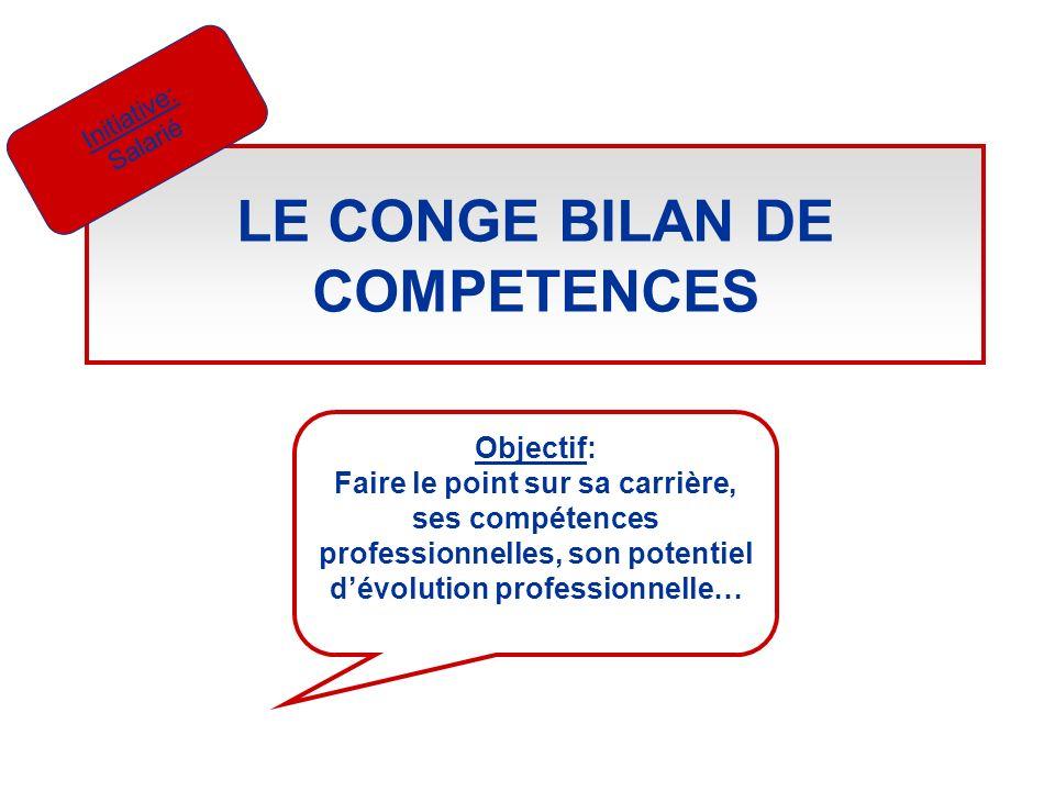 LE CONGE BILAN DE COMPETENCES Initiative: Salarié Objectif: Faire le point sur sa carrière, ses compétences professionnelles, son potentiel dévolution