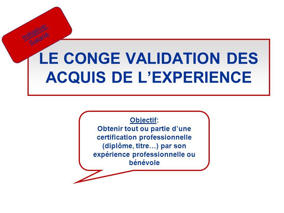 LE CONGE VALIDATION DES ACQUIS DE LEXPERIENCE Initiative: Salarié Objectif: Obtenir tout ou partie dune certification professionnelle (diplôme, titre…