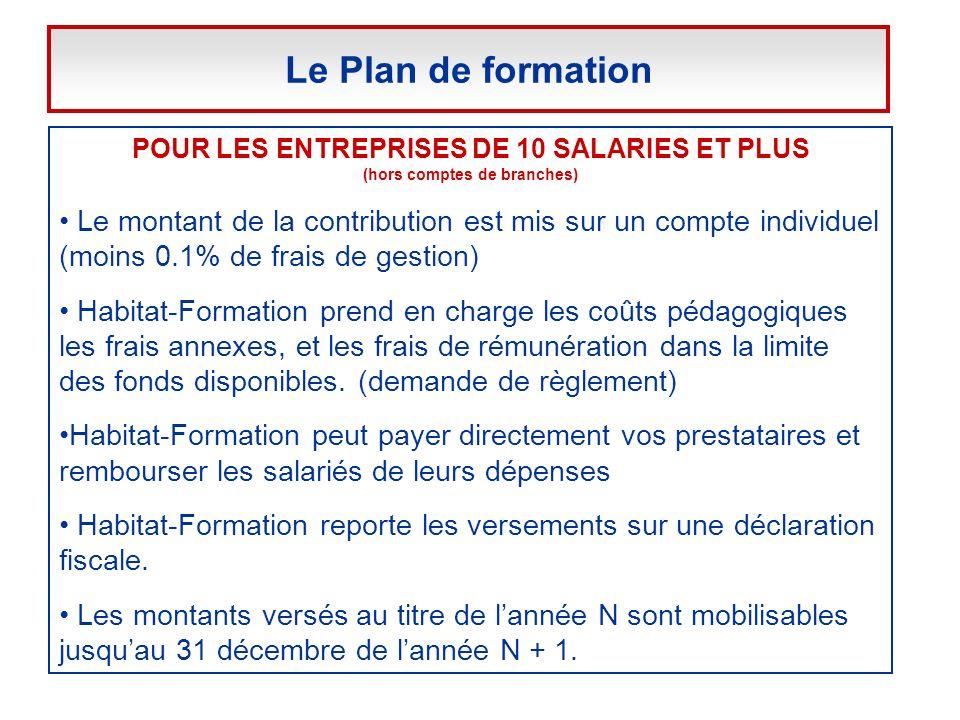 POUR LES ENTREPRISES DE 10 SALARIES ET PLUS (hors comptes de branches) Le montant de la contribution est mis sur un compte individuel (moins 0.1% de f