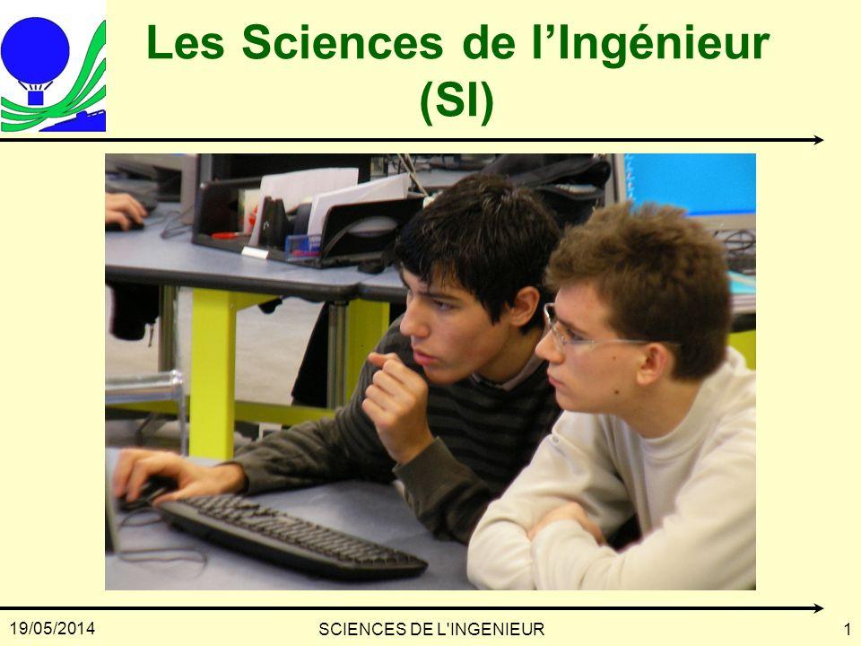 19/05/2014 SCIENCES DE L'INGENIEUR1 Les Sciences de lIngénieur (SI)