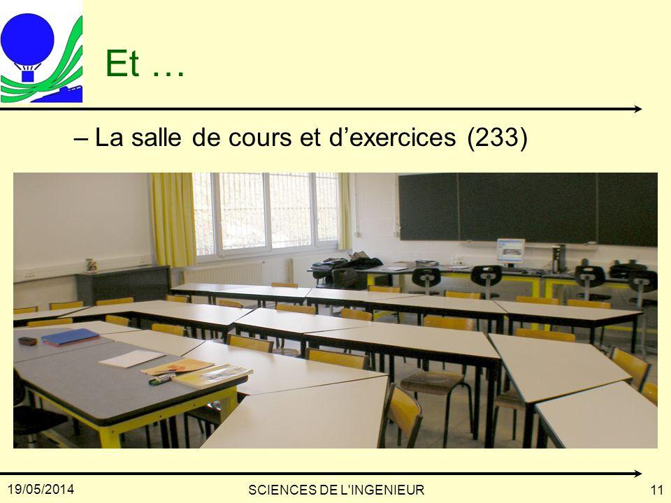19/05/2014 SCIENCES DE L'INGENIEUR11 Et … –La salle de cours et dexercices (233)