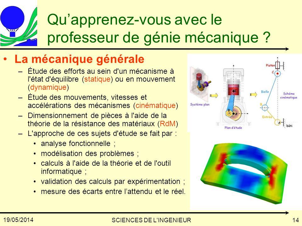 19/05/2014 SCIENCES DE L'INGENIEUR14 Quapprenez-vous avec le professeur de génie mécanique ? La mécanique générale –Étude des efforts au sein d'un méc