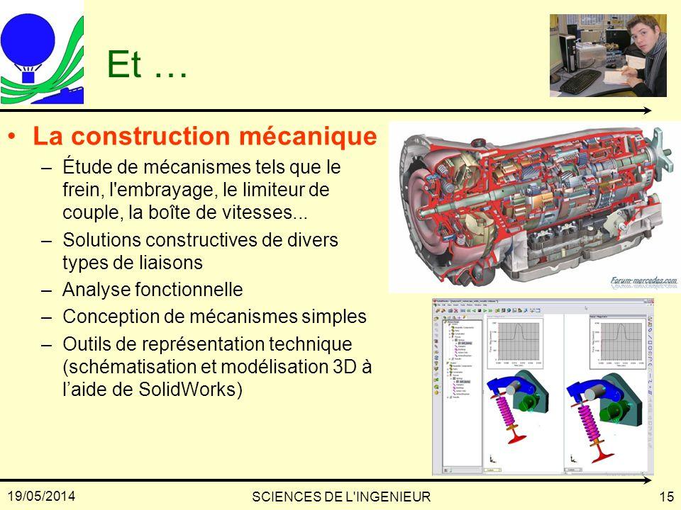 19/05/2014 SCIENCES DE L'INGENIEUR15 Et … La construction mécanique –Étude de mécanismes tels que le frein, l'embrayage, le limiteur de couple, la boî
