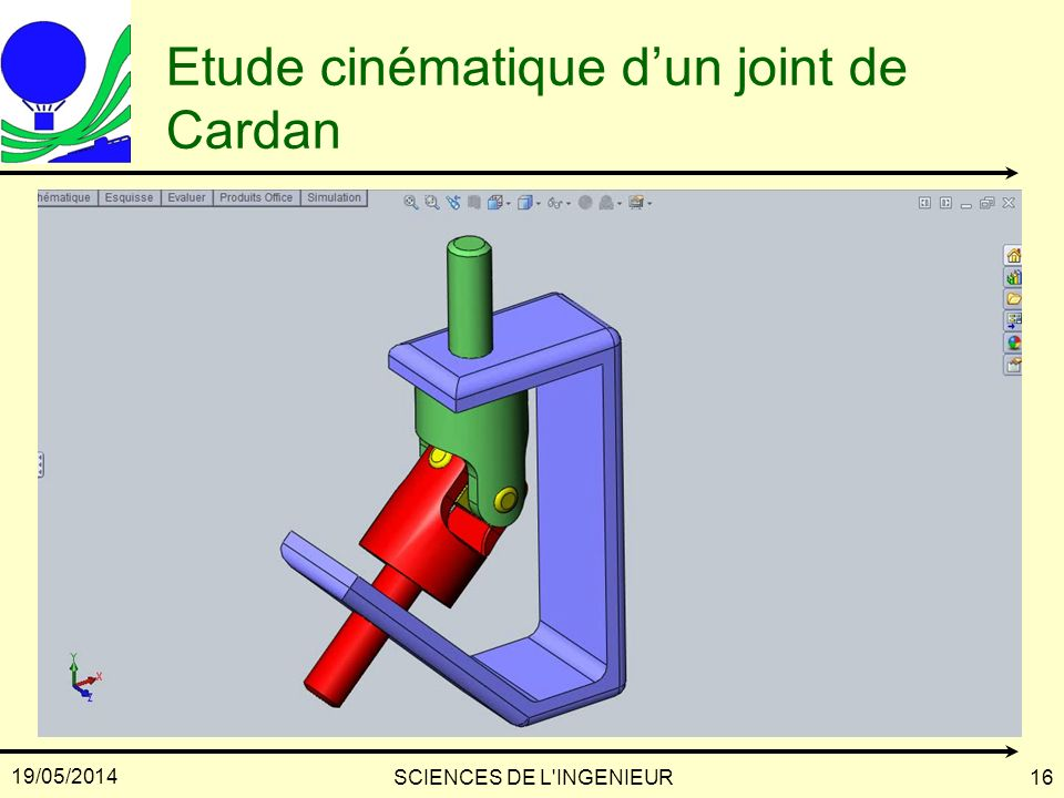 19/05/2014 SCIENCES DE L'INGENIEUR16 Etude cinématique dun joint de Cardan