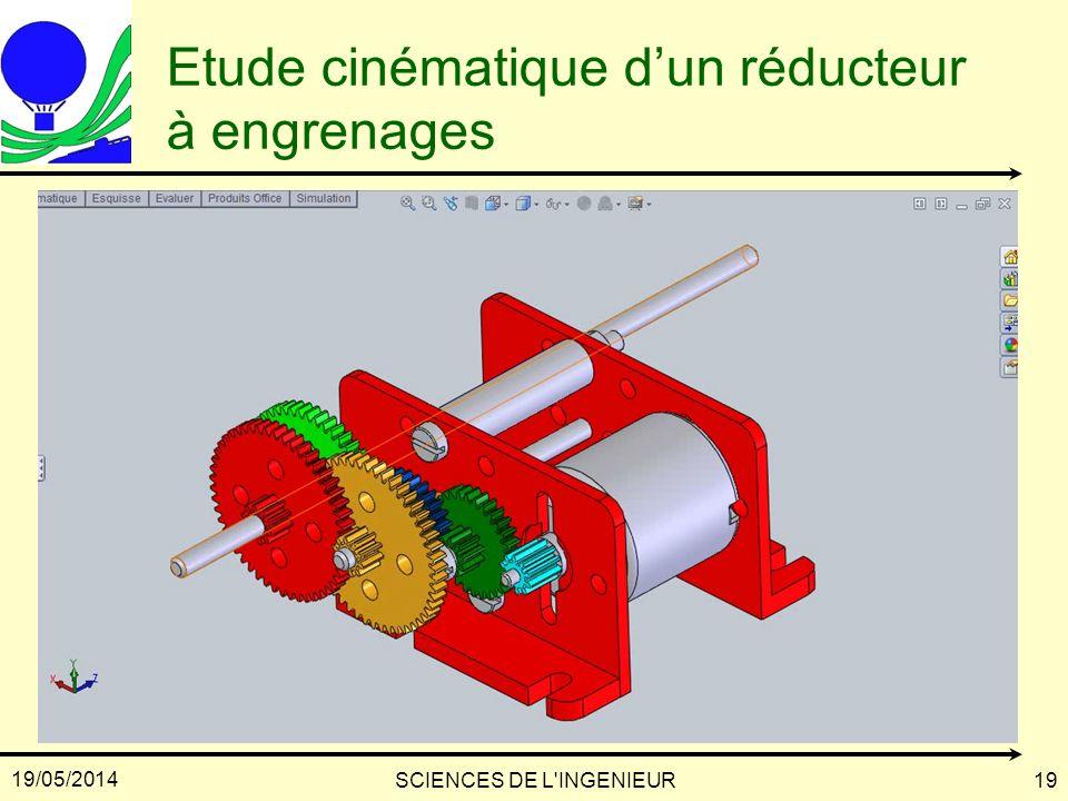 19/05/2014 SCIENCES DE L'INGENIEUR19 Etude cinématique dun réducteur à engrenages