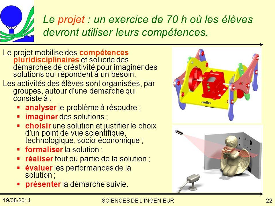 19/05/2014 SCIENCES DE L'INGENIEUR22 Le projet : un exercice de 70 h où les élèves devront utiliser leurs compétences. Le projet mobilise des compéten