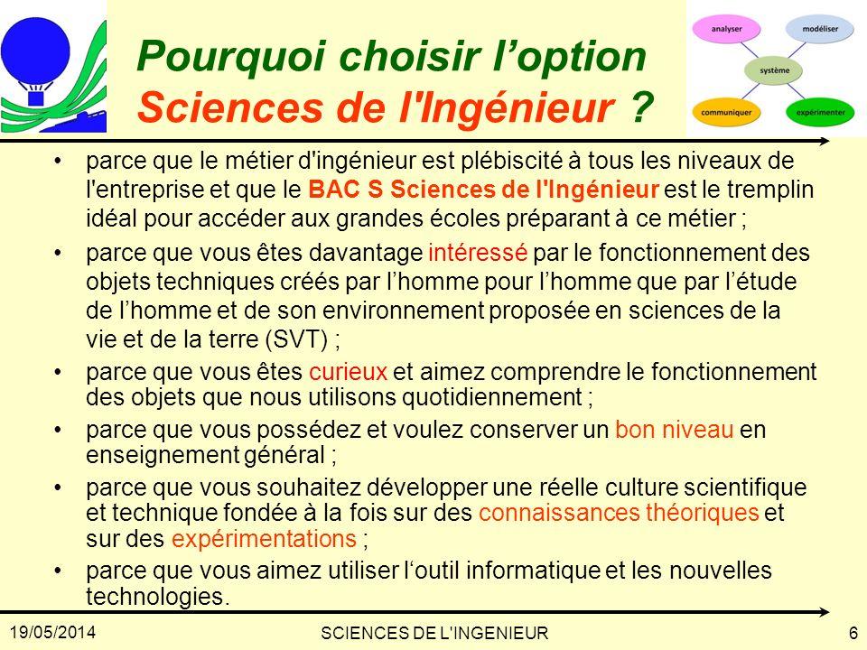 19/05/2014 SCIENCES DE L'INGENIEUR6 Pourquoi choisir loption Sciences de l'Ingénieur ? parce que le métier d'ingénieur est plébiscité à tous les nivea
