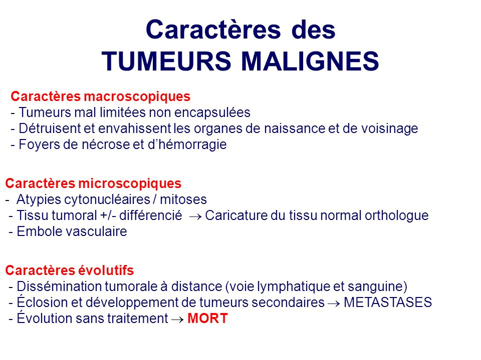 Caractères macroscopiques - Tumeurs mal limitées non encapsulées - Détruisent et envahissent les organes de naissance et de voisinage - Foyers de nécr