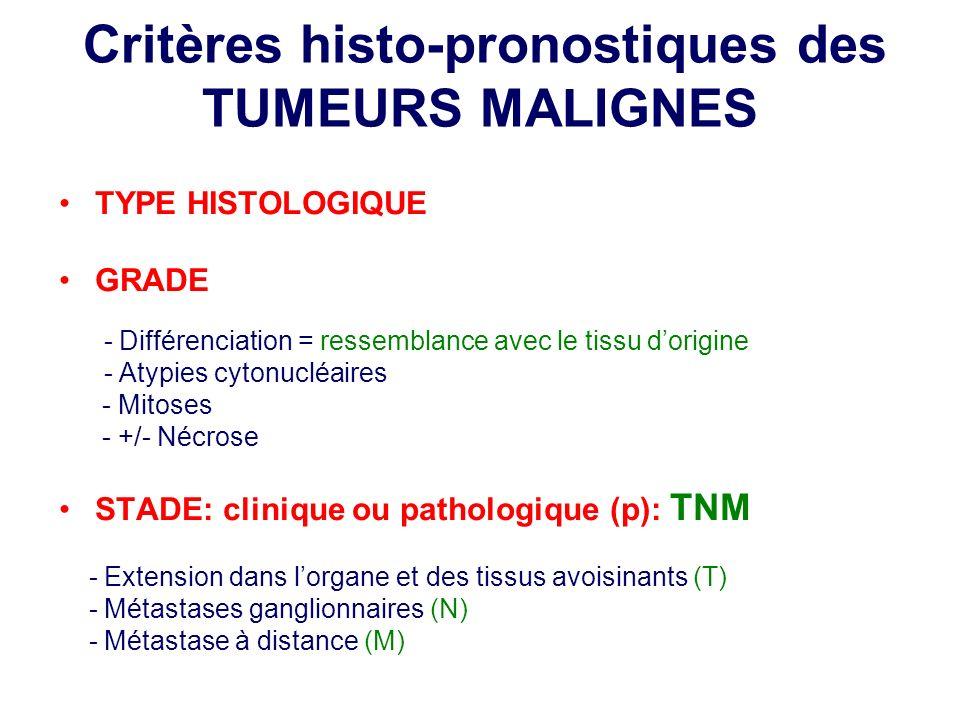 Critères histo-pronostiques des TUMEURS MALIGNES TYPE HISTOLOGIQUE GRADE - Différenciation = ressemblance avec le tissu dorigine - Atypies cytonucléai