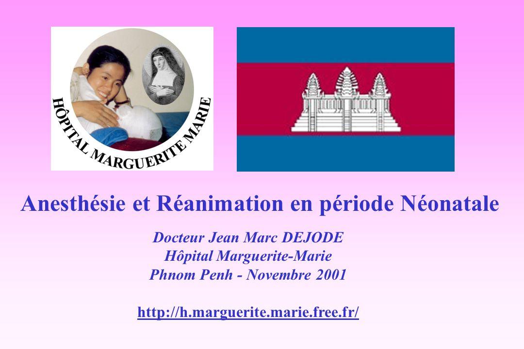 Anesthésie et Réanimation en période Néonatale Docteur Jean Marc DEJODE Hôpital Marguerite-Marie Phnom Penh - Novembre 2001 http://h.marguerite.marie.