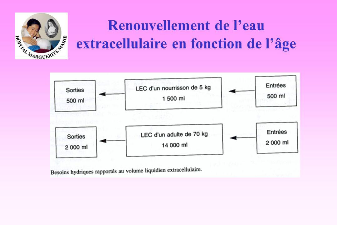 Renouvellement de leau extracellulaire en fonction de lâge
