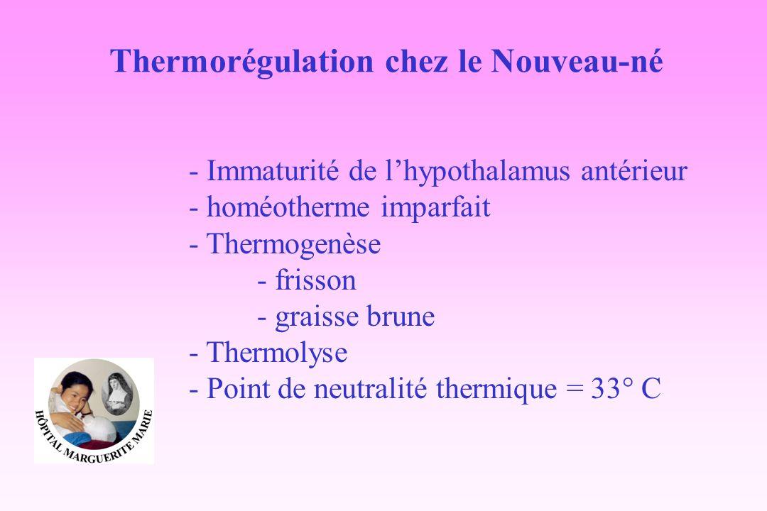 - Immaturité de lhypothalamus antérieur - homéotherme imparfait - Thermogenèse - frisson - graisse brune - Thermolyse - Point de neutralité thermique