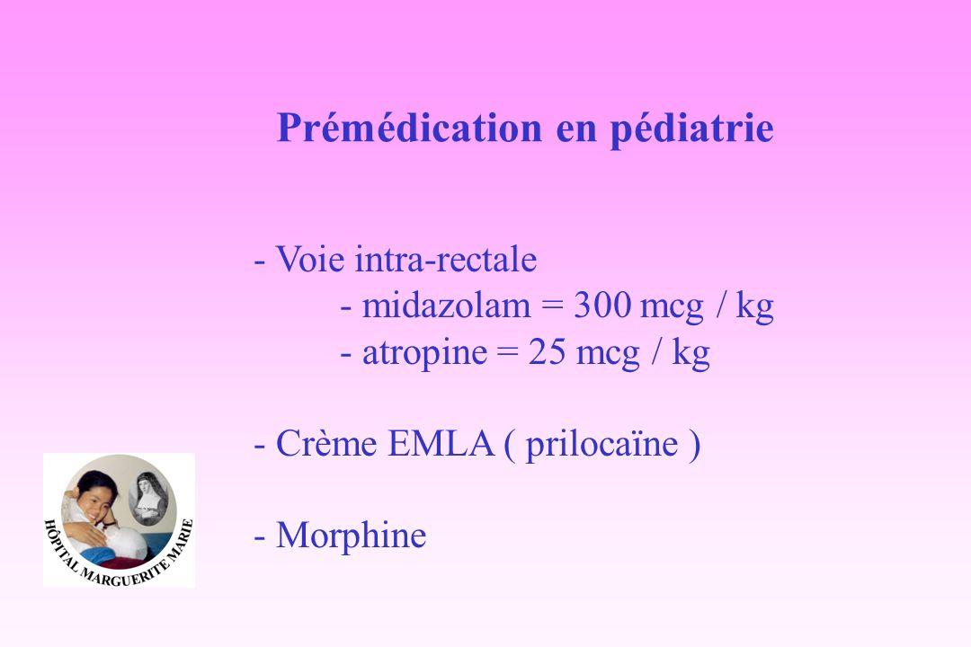 Prémédication en pédiatrie - Voie intra-rectale - midazolam = 300 mcg / kg - atropine = 25 mcg / kg - Crème EMLA ( prilocaïne ) - Morphine