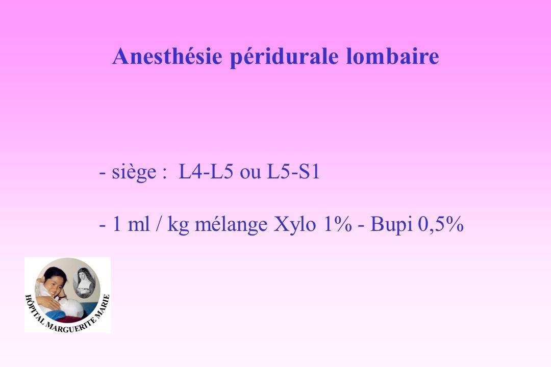 Anesthésie péridurale lombaire - siège : L4-L5 ou L5-S1 - 1 ml / kg mélange Xylo 1% - Bupi 0,5%