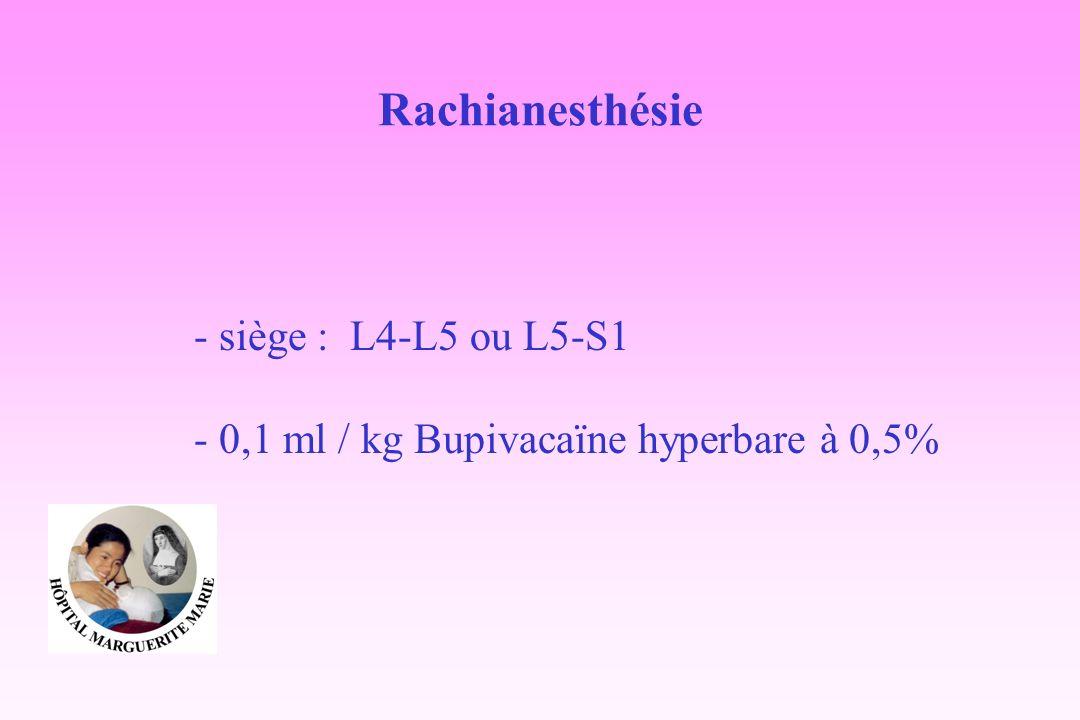 Rachianesthésie - siège : L4-L5 ou L5-S1 - 0,1 ml / kg Bupivacaïne hyperbare à 0,5%