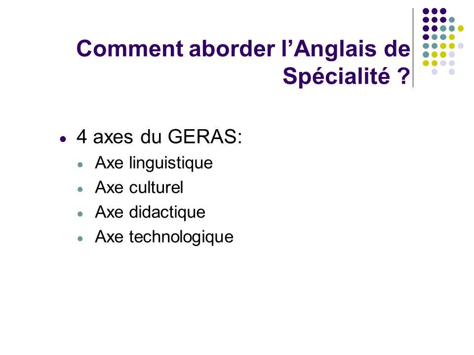 Comment aborder lAnglais de Spécialité ? 4 axes du GERAS: Axe linguistique Axe culturel Axe didactique Axe technologique