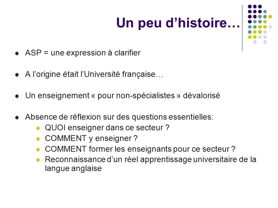 Un peu dhistoire… ASP = une expression à clarifier A lorigine était lUniversité française… Un enseignement « pour non-spécialistes » dévalorisé Absenc
