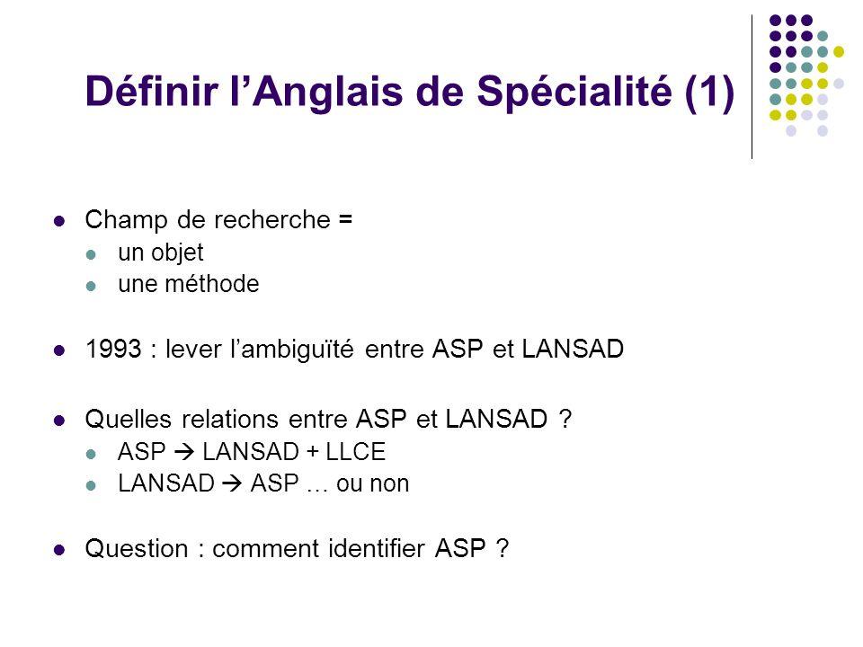 Définir lAnglais de Spécialité (1) Champ de recherche = un objet une méthode 1993 : lever lambiguïté entre ASP et LANSAD Quelles relations entre ASP e