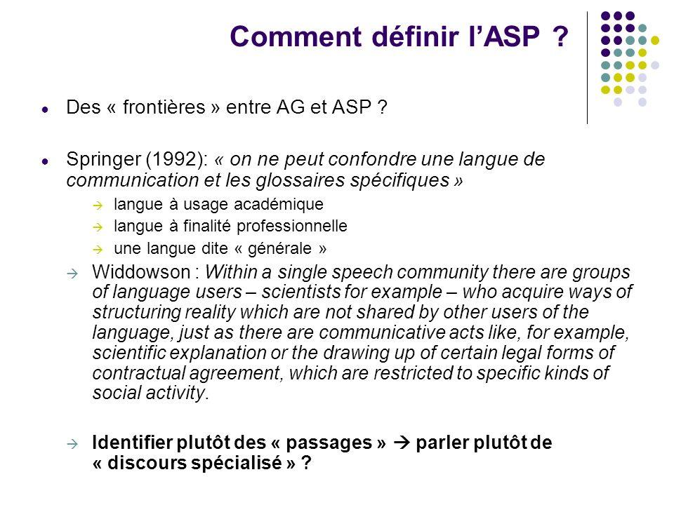 Comment définir lASP ? Des « frontières » entre AG et ASP ? Springer (1992): « on ne peut confondre une langue de communication et les glossaires spéc