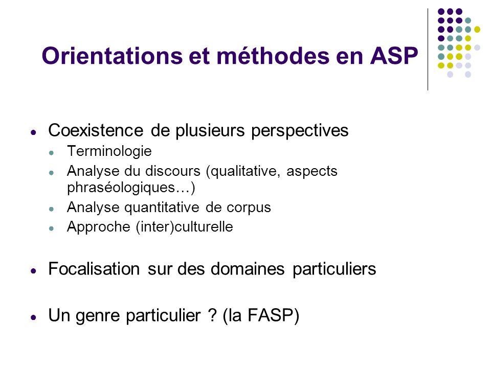 Orientations et méthodes en ASP Coexistence de plusieurs perspectives Terminologie Analyse du discours (qualitative, aspects phraséologiques…) Analyse