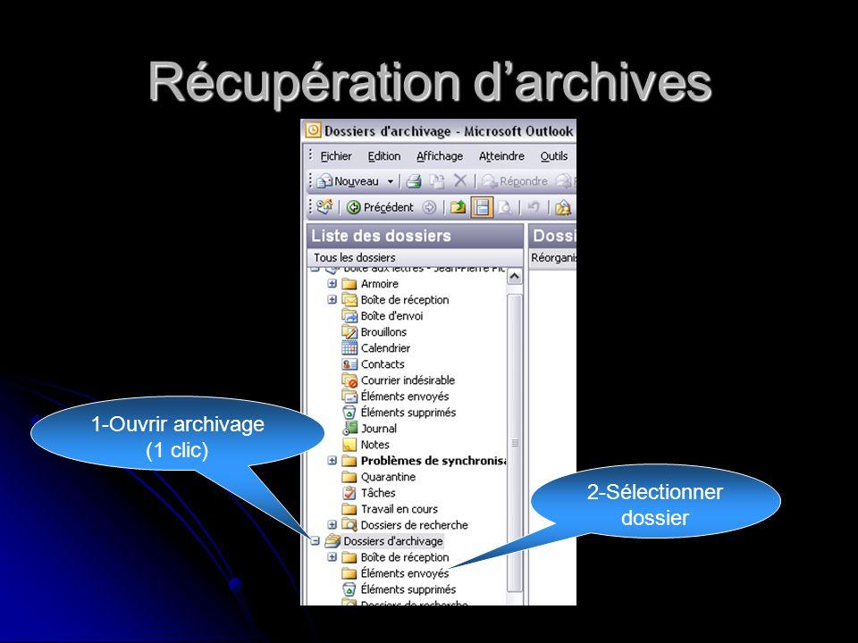 Récupération darchives 1-Ouvrir archivage (1 clic) 2-Sélectionner dossier