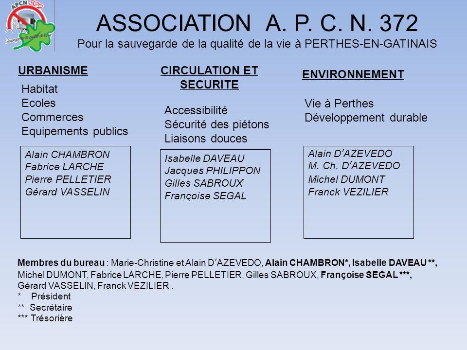 ASSOCIATION A. P. C. N. 372 Pour la sauvegarde de la qualité de la vie à PERTHES-EN-GATINAIS URBANISMECIRCULATION ET SECURITE ENVIRONNEMENT Habitat Ec