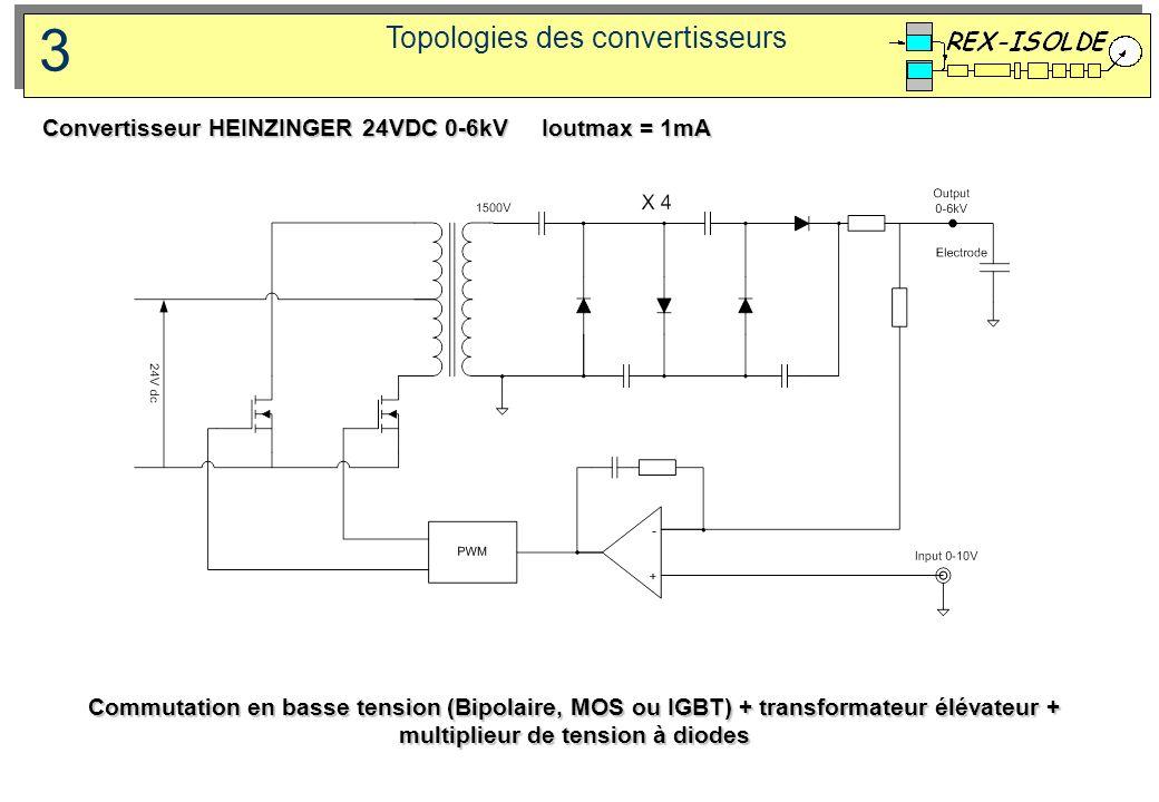 Topologies des convertisseurs 3 Commutation en basse tension (Bipolaire, MOS ou IGBT) + transformateur élévateur + multiplieur de tension à diodes Con