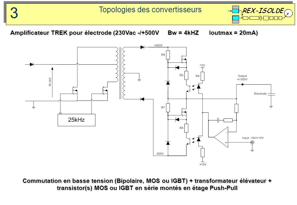 Topologies des convertisseurs 3 Commutation en basse tension (Bipolaire, MOS ou IGBT) + transformateur élévateur + transistor(s) MOS ou IGBT en série