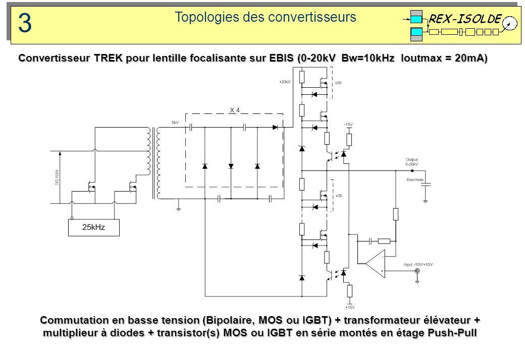 Topologies des convertisseurs 3 Commutation en basse tension (Bipolaire, MOS ou IGBT) + transformateur élévateur + multiplieur à diodes + transistor(s