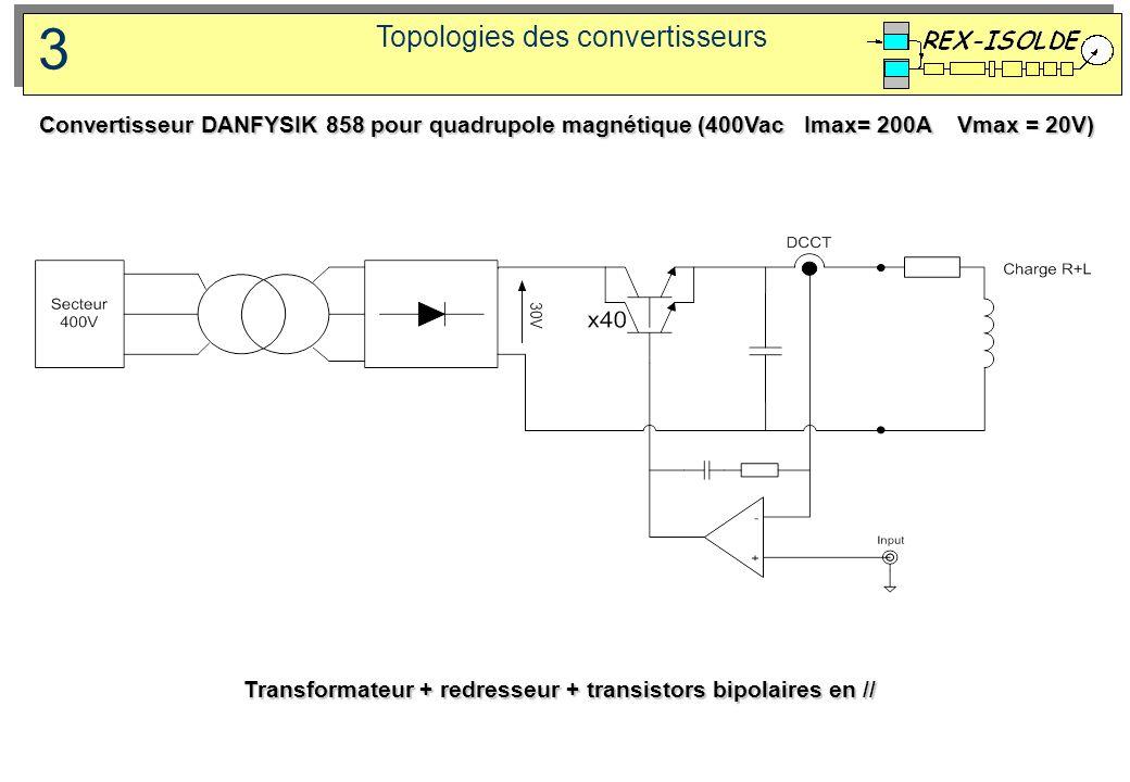 Topologies des convertisseurs 3 Transformateur + redresseur + transistors bipolaires en // Convertisseur DANFYSIK 858 pour quadrupole magnétique (400V