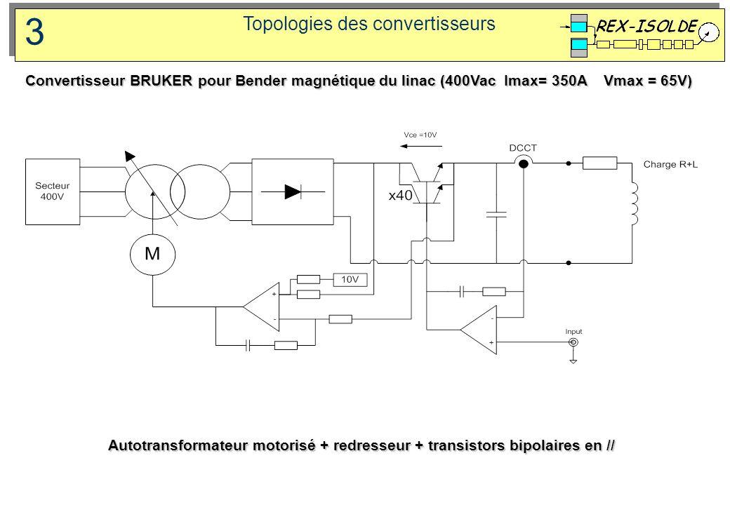 Topologies des convertisseurs 3 Autotransformateur motorisé + redresseur + transistors bipolaires en // Convertisseur BRUKER pour Bender magnétique du