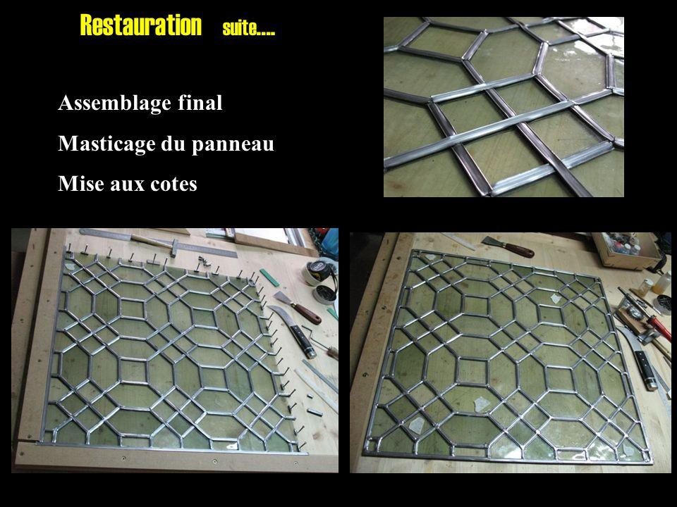 Assemblage final Masticage du panneau Mise aux cotes Restauration suite ….