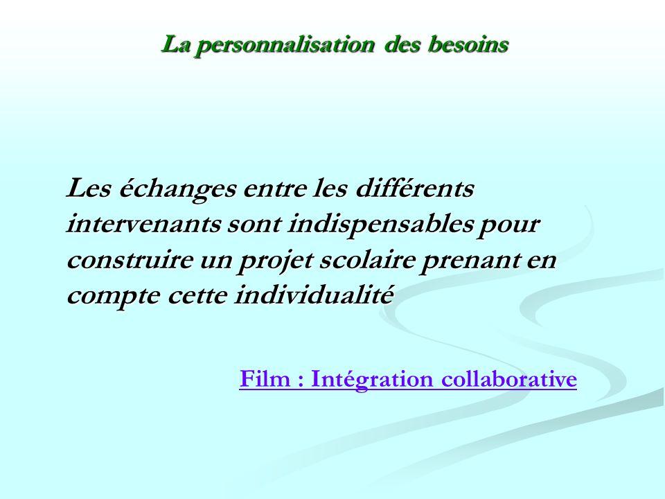 Les échanges entre les différents intervenants sont indispensables pour construire un projet scolaire prenant en compte cette individualité Les échang