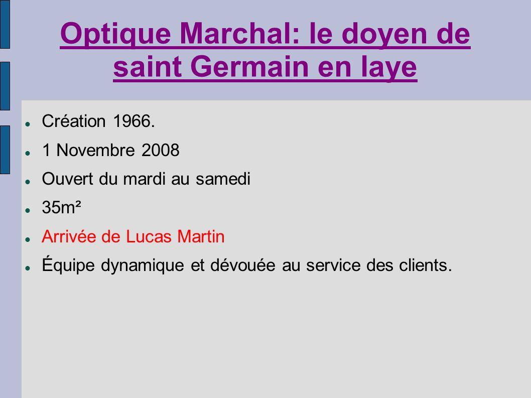 Optique Marchal: le doyen de saint Germain en laye Création 1966. 1 Novembre 2008 Ouvert du mardi au samedi 35m² Arrivée de Lucas Martin Équipe dynami
