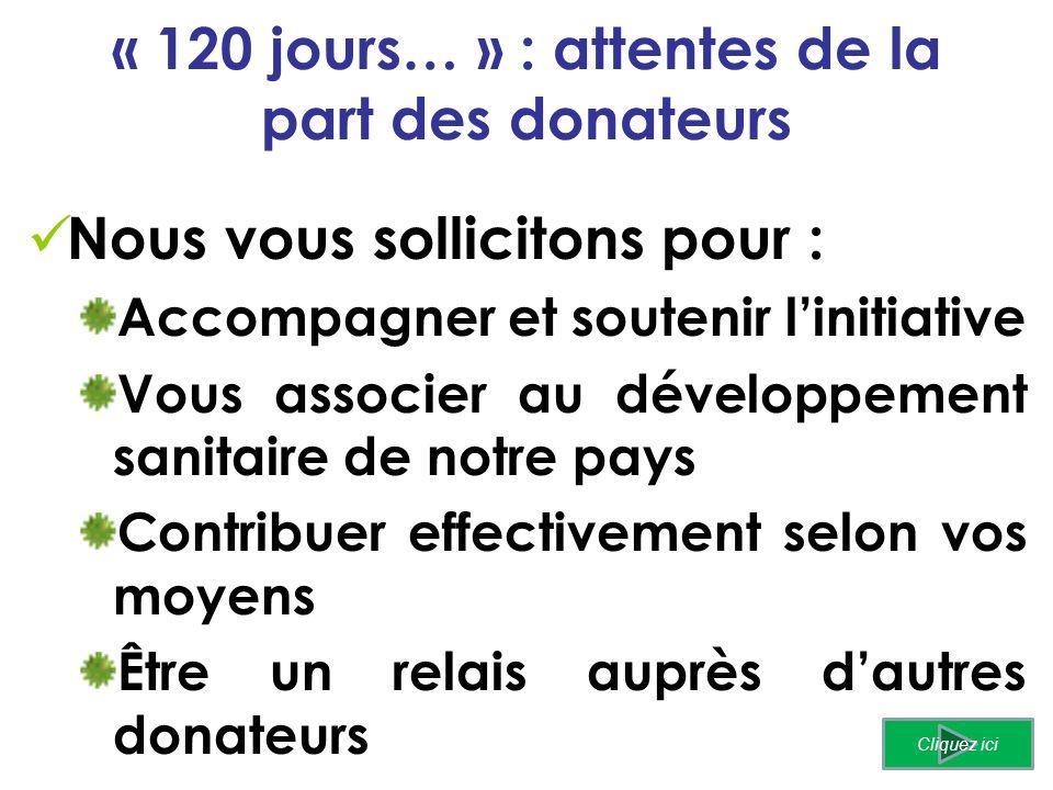 « 120 jours… » : attentes de la part des donateurs Nous vous sollicitons pour : Accompagner et soutenir linitiative Vous associer au développement sanitaire de notre pays Contribuer effectivement selon vos moyens Être un relais auprès dautres donateurs Cliquez ici
