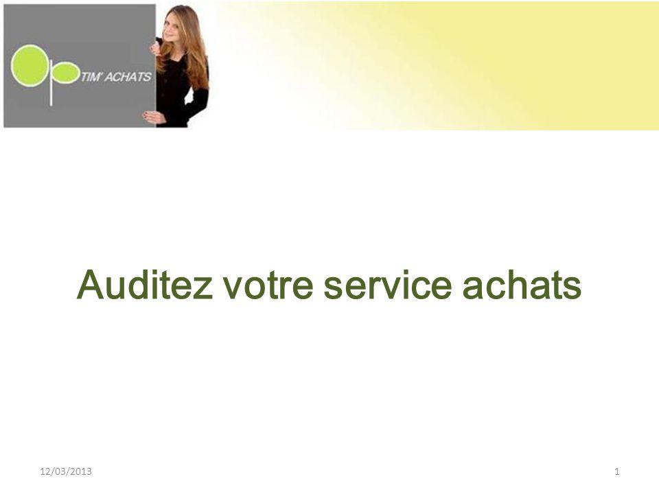 Auditez votre service achats 12/03/20131