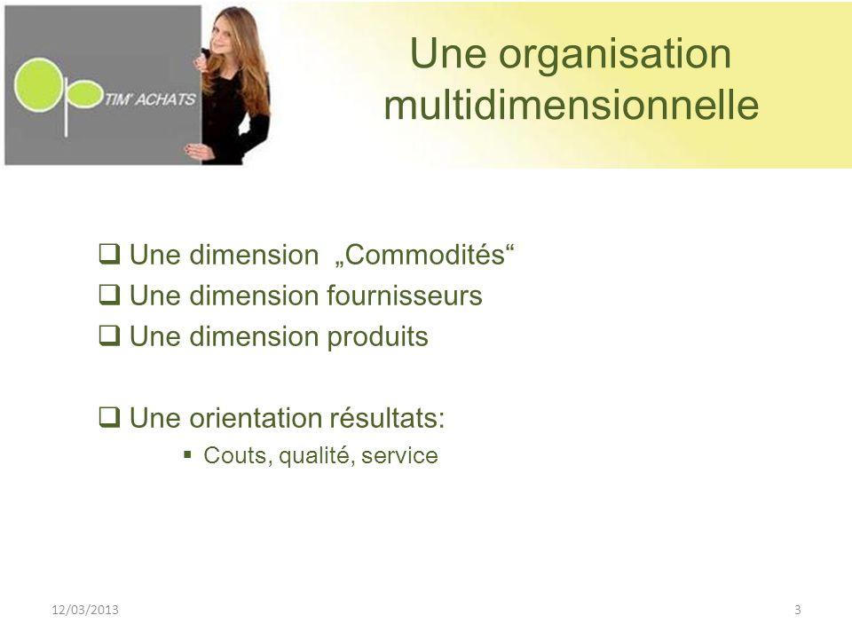 Une organisation multidimensionnelle Une dimension Commodités Une dimension fournisseurs Une dimension produits Une orientation résultats: Couts, qual