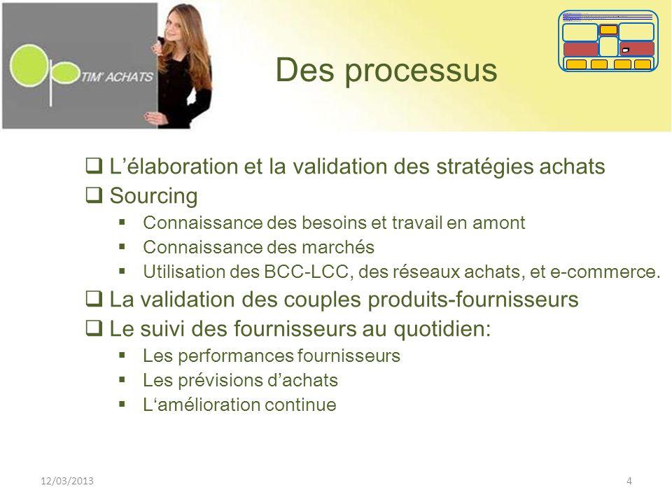 Des processus Lélaboration et la validation des stratégies achats Sourcing Connaissance des besoins et travail en amont Connaissance des marchés Utili