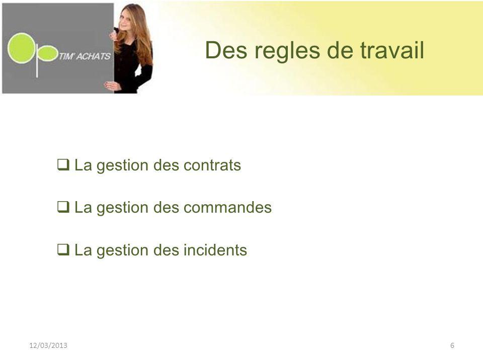 Des regles de travail La gestion des contrats La gestion des commandes La gestion des incidents 12/03/20136