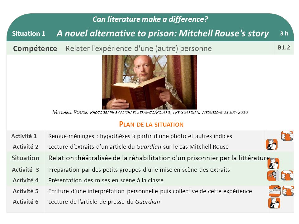 Can literature make a difference? Situation 1 A novel alternative to prison: Mitchell Rouse's story 3 h CompétenceRelater l'expérience d'une (autre) p