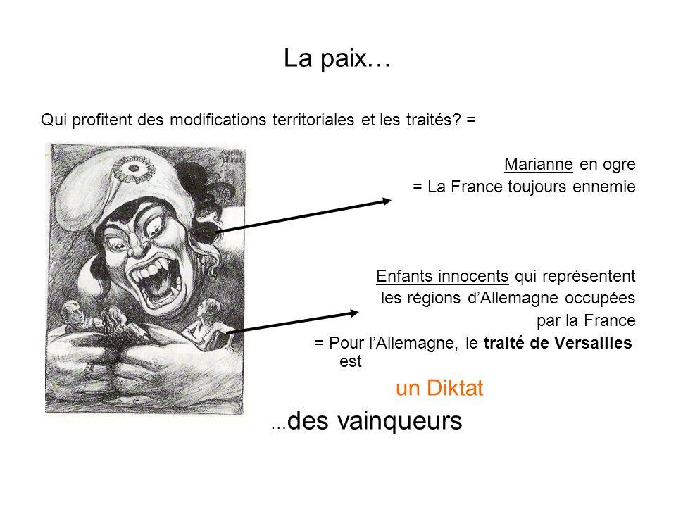 La paix… Qui profitent des modifications territoriales et les traités.