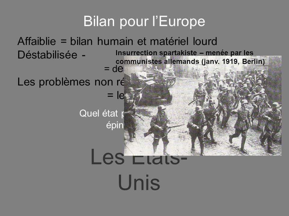 Affaiblie = bilan humain et matériel lourd Déstabilisée - = d es états déstabilisés Les problèmes non résolus = = les frontières Bilan pour lEurope Quel état par contre tire son épingle du jeu.