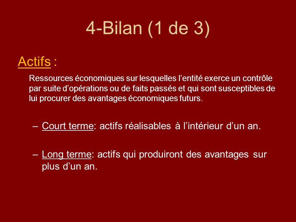 4-Bilan (1 de 3) Actifs : Ressources économiques sur lesquelles lentité exerce un contrôle par suite dopérations ou de faits passés et qui sont suscep