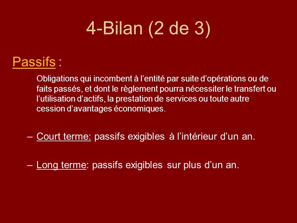 4-Bilan (2 de 3) Passifs : Obligations qui incombent à lentité par suite dopérations ou de faits passés, et dont le règlement pourra nécessiter le tra