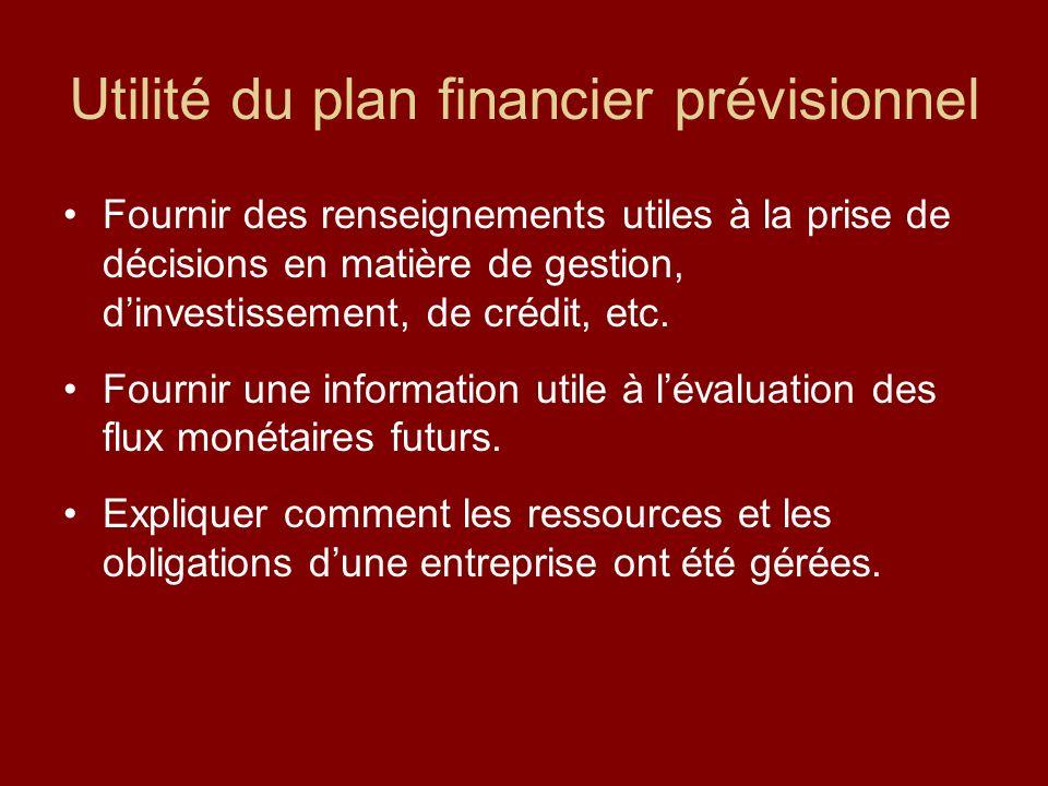 Utilité du plan financier prévisionnel Fournir des renseignements utiles à la prise de décisions en matière de gestion, dinvestissement, de crédit, et