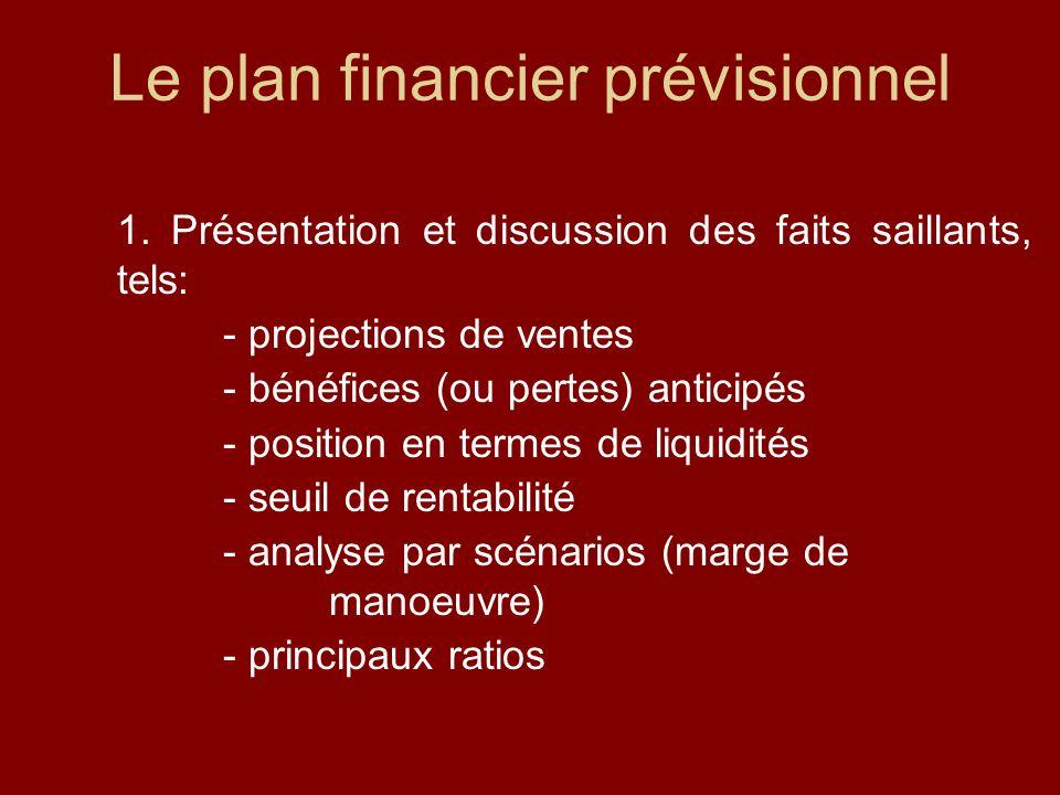 2.Fonds requis et sources de financement projetées (fonds propres, subventions, financement, etc.) 3.Évaluation du risque et plan B (si ça va mal, qu est-ce qu on peut faire pour limiter les pertes?) Le plan financier prévisionnel