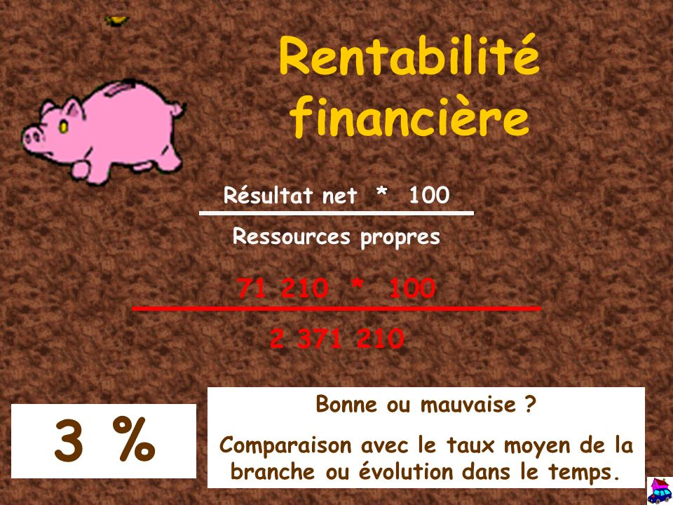 Rentabilité financière Résultat net * 100 Ressources propres 71 210 * 100 2 371 210 3 % Bonne ou mauvaise ? Comparaison avec le taux moyen de la branc