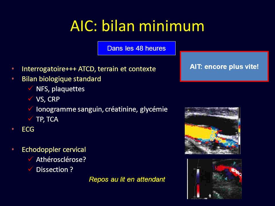 AIC: bilan minimum Interrogatoire+++ ATCD, terrain et contexte Bilan biologique standard NFS, plaquettes VS, CRP Ionogramme sanguin, créatinine, glycé